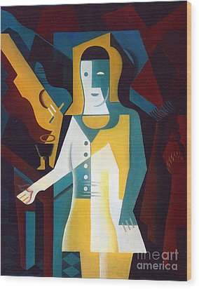 Pierrot Wood Print by Pg Reproductions