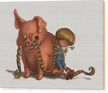 Pig Tales Chomp Wood Print by Andy Catling
