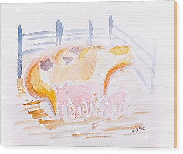 Pig With Piglets  Wood Print by Simon Bratt Photography LRPS