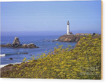 Pigeon Point Lighthouse California Coast Wood Print by Mike Nellums