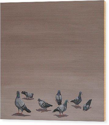Pigeons Wood Print by Jennifer Lynch