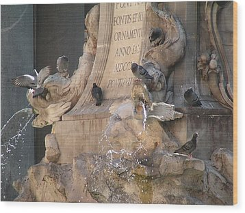 Pigeons Playtime Wood Print by Valia Bradshaw