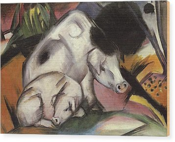 Pigs Wood Print by Franz Marc