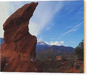 Wood Print featuring the photograph Jut Rock Over Pikes Peak by Clarice  Lakota