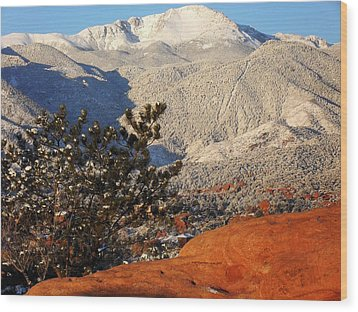 Pikes Peak Stunning Snow Wood Print