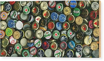 Pile Of Beer Bottle Caps . 2 To 1 Proportion Wood Print by Wingsdomain Art and Photography