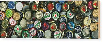 Pile Of Beer Bottle Caps . 3 To 1 Proportion Wood Print by Wingsdomain Art and Photography