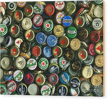 Pile Of Beer Bottle Caps . 8 To 10 Proportion Wood Print by Wingsdomain Art and Photography