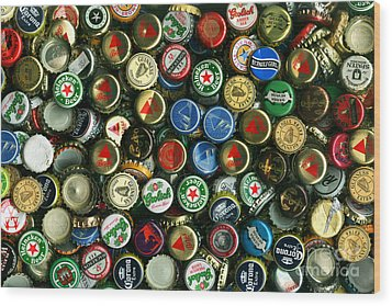 Pile Of Beer Bottle Caps . 8 To 12 Proportion Wood Print by Wingsdomain Art and Photography