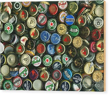 Pile Of Beer Bottle Caps . 9 To 12 Proportion Wood Print by Wingsdomain Art and Photography