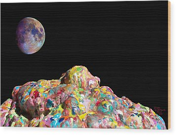 Pile Of Color In Space Two K O Four Wood Print by Carl Deaville