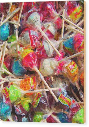 Pile Of Lollipops - Painterly Wood Print by Wingsdomain Art and Photography