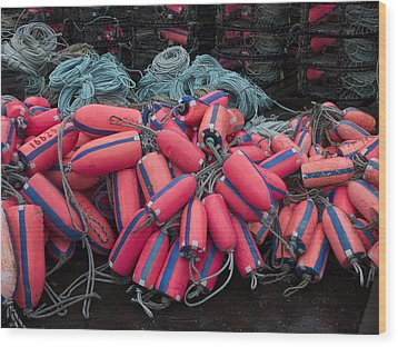 Pile Of Pink And Blue Buoys Wood Print by Carol Leigh