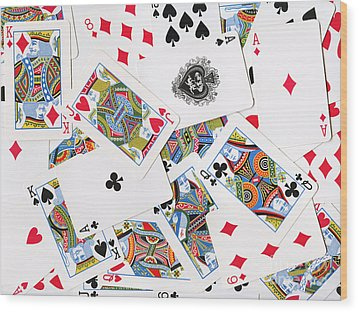 Pile Of Playing Cards Wood Print by Wingsdomain Art and Photography