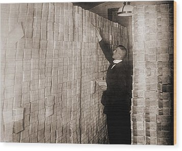 Piles Of German Money In A Berlin Bank Wood Print by Everett