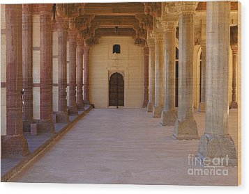 Pillars In Amber Fort Wood Print by Inti St. Clair