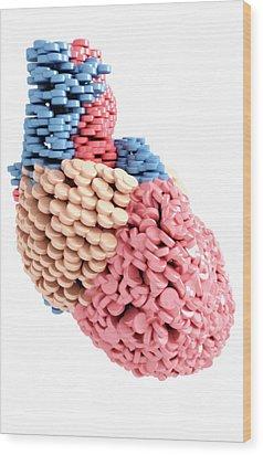 Pills Heart Wood Print by MedicalRF.com