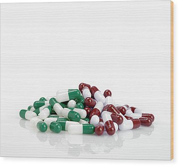 Pills Wood Print by Maria Toutoudaki
