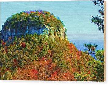 Pilot Mountain Wood Print