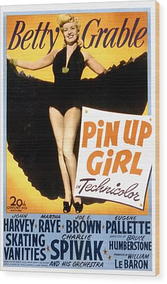Pin Up Girl, Betty Grable, 1944 Wood Print by Everett