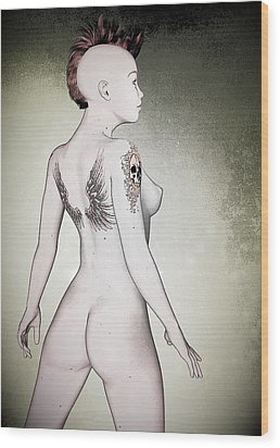 Wood Print featuring the digital art Pin-up No. 5 by Maynard Ellis