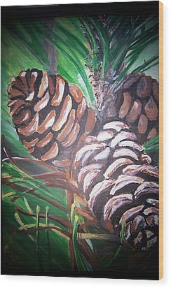 Wood Print featuring the painting Pine Cones by Krista Ouellette
