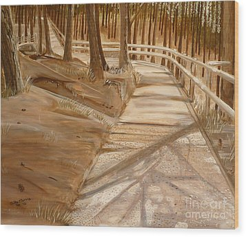 Pine Forest Walk Wood Print by Judy Morris