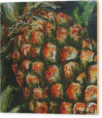 Wood Print featuring the painting Pineapple by Karen  Ferrand Carroll