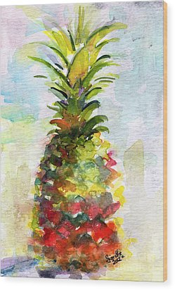 Pineapple Study Watercolor Wood Print by Ginette Callaway