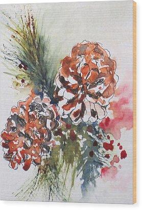 Pinecone Garland Wood Print by Corynne Hilbert