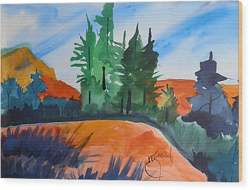 Pines Atop Red Mountain Wood Print