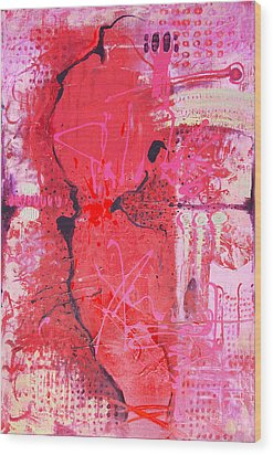 Wood Print featuring the painting Pink Abstract by Lolita Bronzini