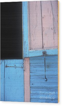 Wood Print featuring the photograph Pink And Blue Shutters Barahona Dominican Republic by John  Mitchell