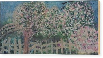 Pink And White Trees And Fence Wood Print by Anne-Elizabeth Whiteway