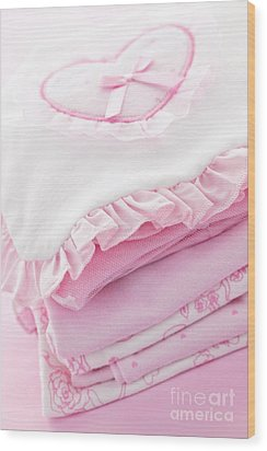Pink Baby Clothes For Infant Girl Wood Print by Elena Elisseeva