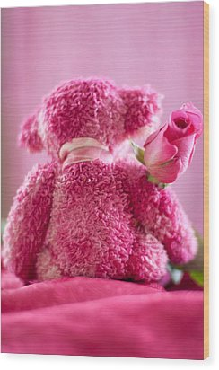 Wood Print featuring the photograph Pink Bear Behind Holding Pink Rose by Ethiriel  Photography
