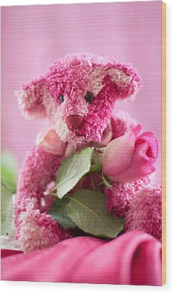 Wood Print featuring the photograph Pink Bear With Rose by Ethiriel  Photography