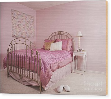 Pink Bedroom Interior Wood Print by Jetta Productions, Inc