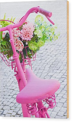 Pink Bicycle Wood Print by Carlos Caetano