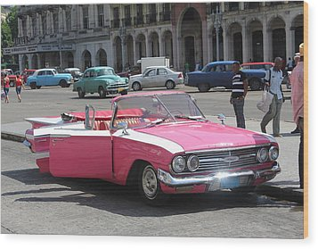 Pink Chevy In Havana Wood Print by David Grant