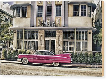 Wood Print featuring the photograph Pink Cadillac by Vicki DeVico