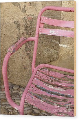 Pink Chair Wood Print by Lainie Wrightson
