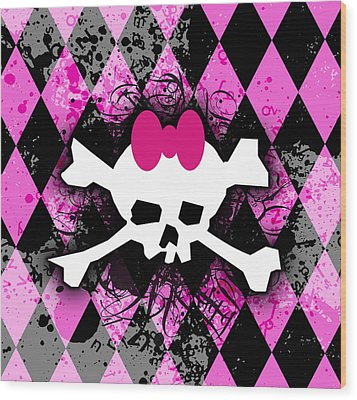 Pink Diamond Skull Wood Print by Roseanne Jones