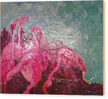 Pink Flamingoes Wood Print by Ana Maria Edulescu