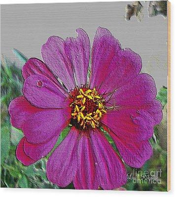 Pink Flower Wood Print by Lisa  Ridgeway