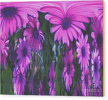 Pink Flower Power Wood Print