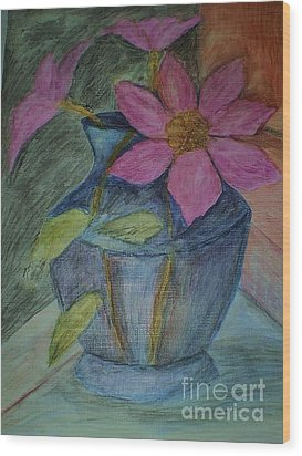 Wood Print featuring the drawing Pink Flowers In Blue Vase by Christy Saunders Church