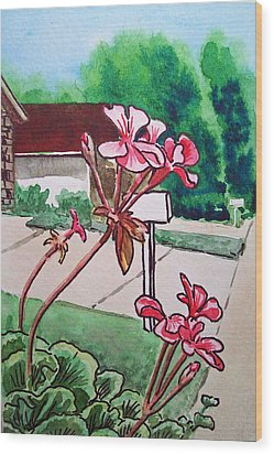Pink Geranium Sketchbook Project Down My Street Wood Print by Irina Sztukowski