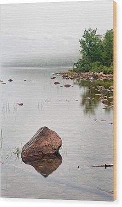 Pink Granite In Jordan Pond At Acadia Wood Print by Steve Gadomski