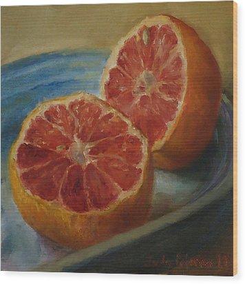 Pink Grapefruit On Blue Vintage Platter Wood Print by Judy Palermo